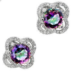 Multi color rainbow topaz 925 sterling silver stud earrings jewelry a25684