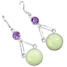 Natural lemon chrysoprase purple amethyst 925 silver dangle earrings a30642