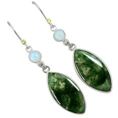 Natural green moss agate moonstone 925 silver dangle earrings jewelry a30662