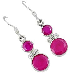 925 sterling silver red faux ruby round dangle earrings jewelry a30666