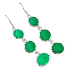 Natural green chalcedony 925 sterling silver dangle earrings jewelry a30669