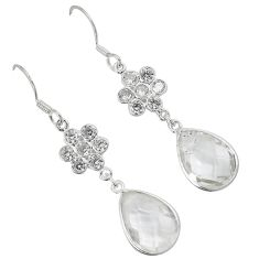 Natural white topaz 925 sterling silver dangle earrings jewelry a30674
