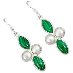 Natural green malachite (pilot's stone) 925 silver dangle earrings a30685