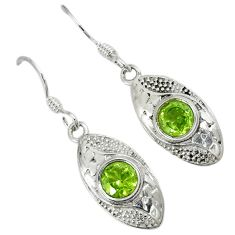 Natural green peridot 925 sterling silver dangle earrings jewelry a30687