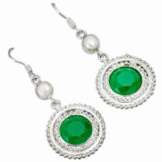 Natural green chalcedony pearl 925 silver dangle earrings jewelry a30689