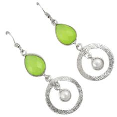 925 sterling silver natural green prehnite pearl dangle earrings jewelry a30696
