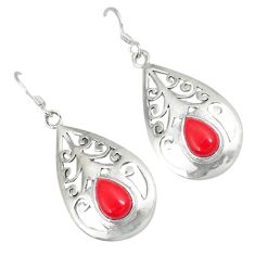 Red coral pear 925 sterling silver dangle earrings jewelry a30703