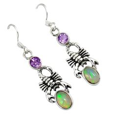 925 sterling silver natural multi color ethiopian opal scorpion earrings a30709