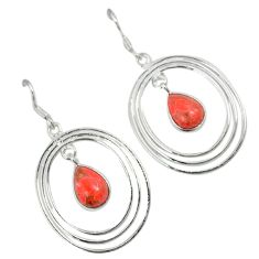 Red copper turquoise 925 sterling silver dangle earrings jewelry a30718