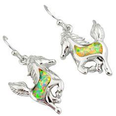925 sterling silver pink australian opal (lab) horse earrings jewelry a36846