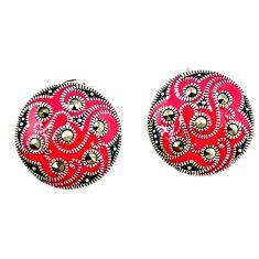 Fine marcasite enamel 925 sterling silver stud earrings jewelry a45210