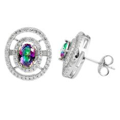 5.84cts multicolor rainbow topaz topaz 925 sterling silver stud earrings a45570