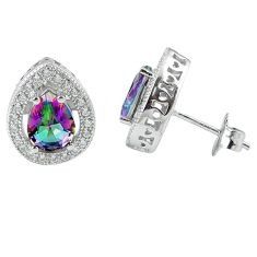 6.31cts multicolor rainbow topaz topaz 925 sterling silver stud earrings a45589