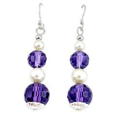 Purple amethyst pearl 925 sterling silver dangle earrings jewelry a49821