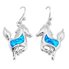 Blue australian opal (lab) 925 sterling silver horse earrings jewelry a52566
