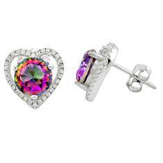 Multi color rainbow topaz topaz 925 sterling silver stud earrings a62431