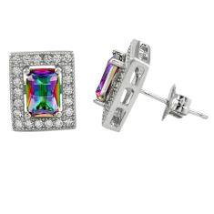 Multi color rainbow topaz topaz 925 sterling silver stud earrings jewelry a62432