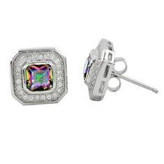 Multi color rainbow topaz topaz 925 sterling silver stud earrings a62448