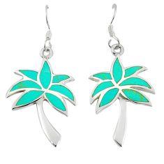 Fine green turquoise enamel 925 sterling silver dangle palm tree earrings a67761