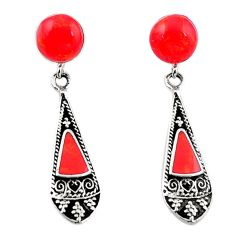 Natural red sponge coral 925 sterling silver earrings jewelry a69450