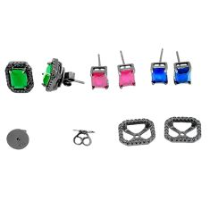 Natural green emerald sapphire 925 silver stud changeable earrings a71726