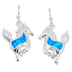 925 sterling silver blue australian opal (lab) horse earrings jewelry b5324