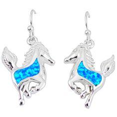 Blue australian opal (lab) 925 sterling silver horse earrings jewelry b5331