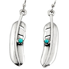 0.23cts green arizona mohave turquoise 925 silver dangle feather earrings c7881
