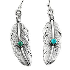 0.27cts green arizona mohave turquoise 925 silver dangle feather earrings c7892