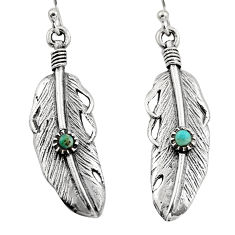 0.27cts green arizona mohave turquoise 925 silver dangle feather earrings c7893