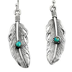 925 silver 0.26cts green arizona mohave turquoise dangle feather earrings c7895