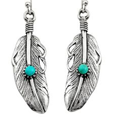 0.28cts green arizona mohave turquoise 925 silver dangle feather earrings c7897
