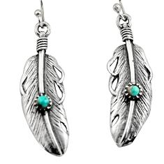 0.27cts green arizona mohave turquoise 925 silver dangle feather earrings c7899
