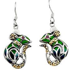 925 silver art nouveau natural red ruby marcasite enamel dangle earrings c8104