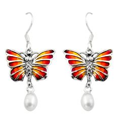 Art nouveau white pearl enamel 925 sterling silver butterfly earrings c8106
