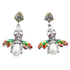 Art nouveau natural white pearl ruby enamel 925 silver honey bee earrings c8113