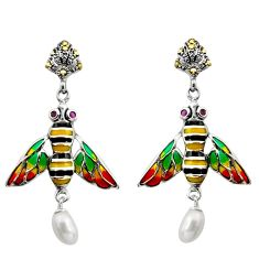 Art nouveau natural white pearl ruby enamel 925 silver honey bee earrings c8114