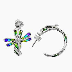 Art nouveau enamel 925 sterling silver dragonfly earrings jewelry c8117