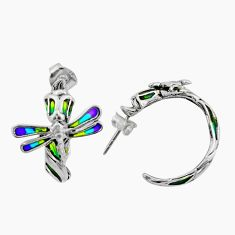 Art nouveau enamel 925 sterling silver dragonfly earrings jewelry c8118