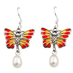Art nouveau white pearl enamel 925 sterling silver butterfly earrings c8122