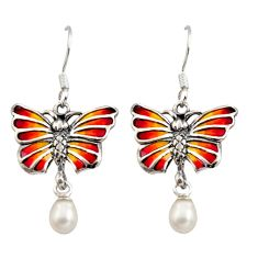 925 sterling silver art nouveau white pearl enamel butterfly earrings c8124