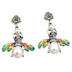 Art nouveau natural white pearl ruby enamel 925 silver honey bee earrings c8127