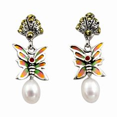 Art nouveau natural white pearl ruby enamel 925 silver butterfly earrings c8128