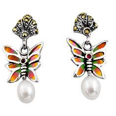 Art nouveau natural white pearl ruby enamel 925 silver honey bee earrings c8129