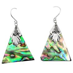7.56cts natural green abalone paua seashell 925 sterling silver earrings c8461