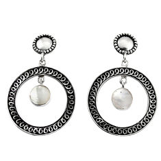 4.21cts natural white pearl 925 sterling silver earrings jewelry c8462