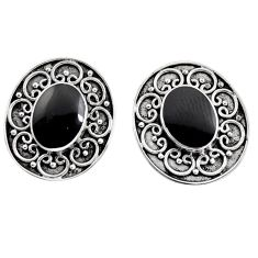 5.22cts natural black onyx 925 sterling silver stud earrings jewelry c8463