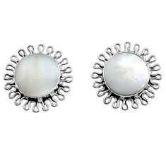 4.53cts natural white pearl 925 sterling silver stud earrings jewelry c8466