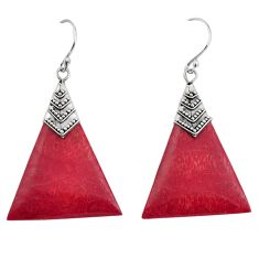 6.52cts natural red sponge coral 925 sterling silver dangle earrings c8482