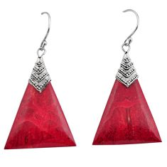 925 sterling silver 7.80cts natural red sponge coral dangle earrings c8483